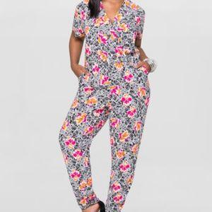 89f27a53831 Ashley Stewart Hibiscus Floral Print Jumpsuit